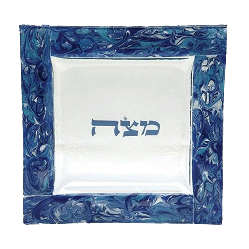 Marbled Turquoise Matzah Plate