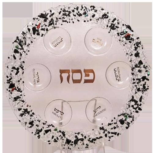 Glass Black Rock Seder Plate