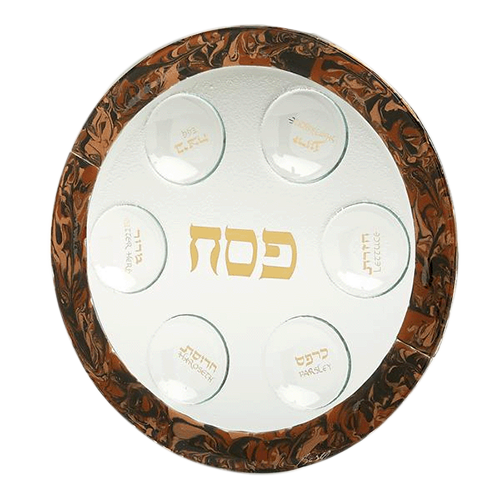 Glass Brown Marbled Seder Plate