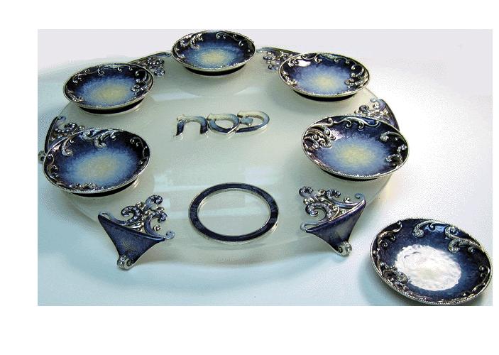 Enameled Blue Ornate Seder Plate