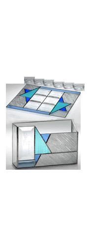 Glass Gray Star of David Seder Set