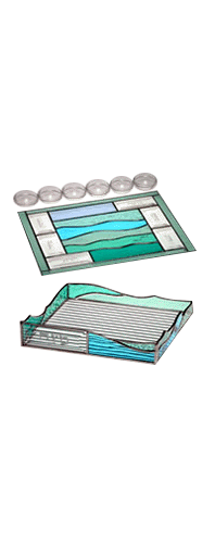 Glass Green Sea Crossing Seder Set