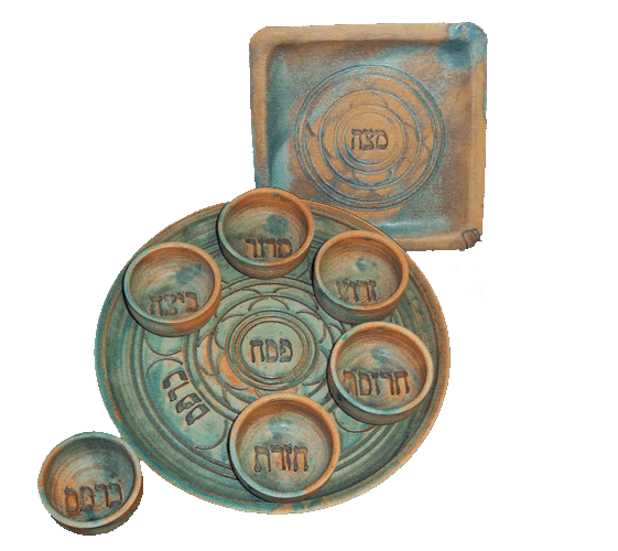 Stone Patina Seder Set