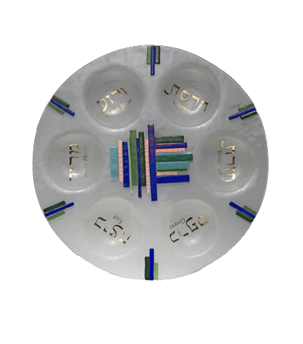 Glass Blue Duo Linear Round Seder Plate