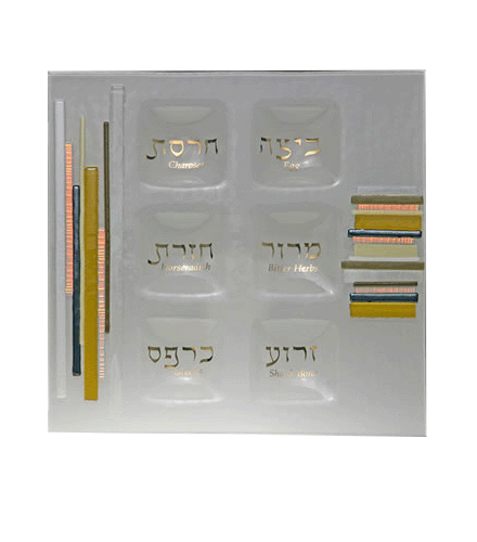 Glass Gold Duo Linear Square Seder Plate