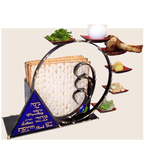 Mixed Metal Black Circular Seder Set