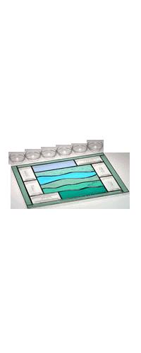 Glass Green Sea Crossing Seder Plate