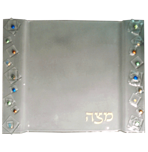 Frosted Geo Matzah Plate