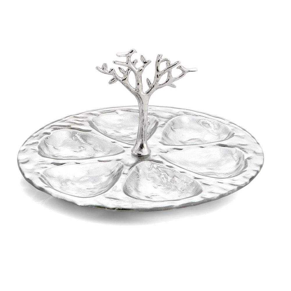 Nickel-Plated Silver Tree of Life Seder Plate