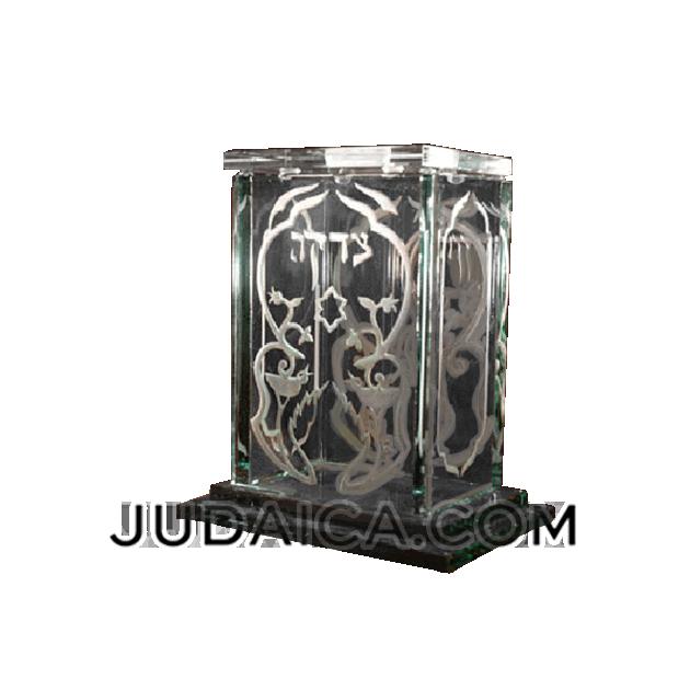 Silver Birds Glass Tzedakah Box