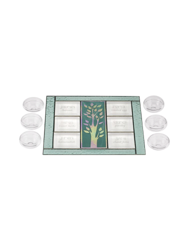 Glass Green Tree of Life Seder Plate