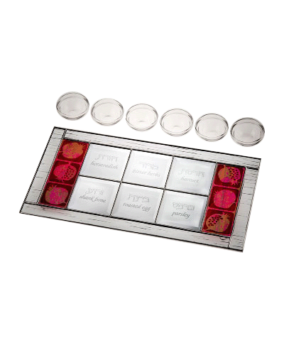 Glass Red Pomegranate Seder Plate