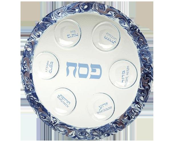 Glass Violet Round Seder Plate by Tamara Baskin