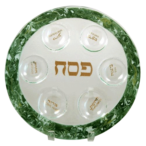 Glass Green Marbled Seder Plate