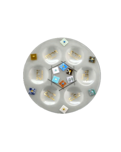 Glass Multi-Color Twelve Tribes Round Seder Plate by Beames Designs