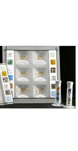 Glass Multi-Color Twelve Tribes Square Seder Plate