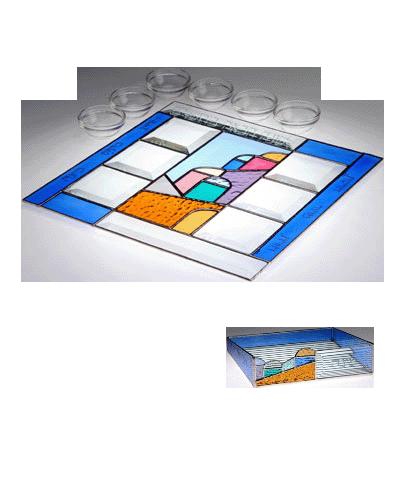 Glass Blue Jerusalem Hills Seder Set