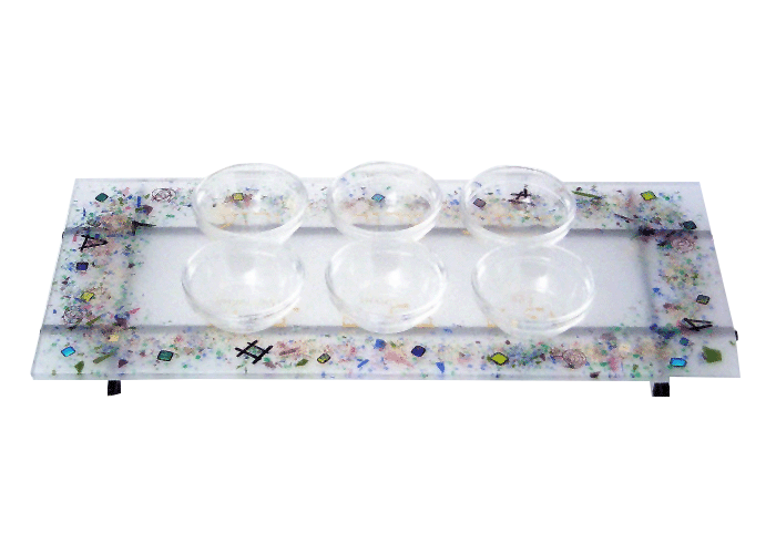 Glass White Celestial Seder Plate