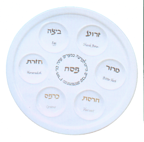 Ceramic White Traditional Seder Plate