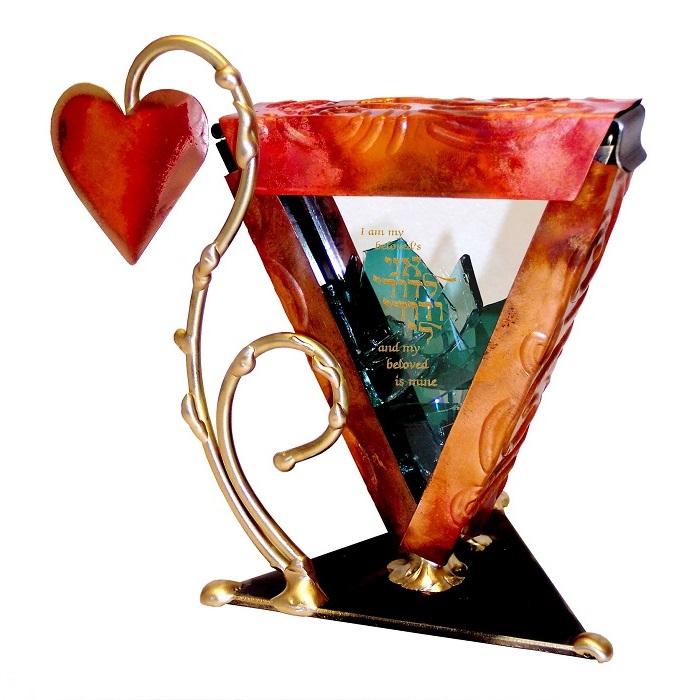 Let Love Grow Inscribed Wedding Breaking Glass Keepsake Container