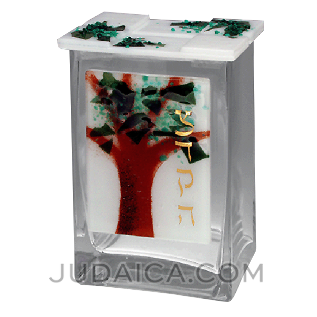 Glass Tree of Life Tzedakah Box by Beames Designs