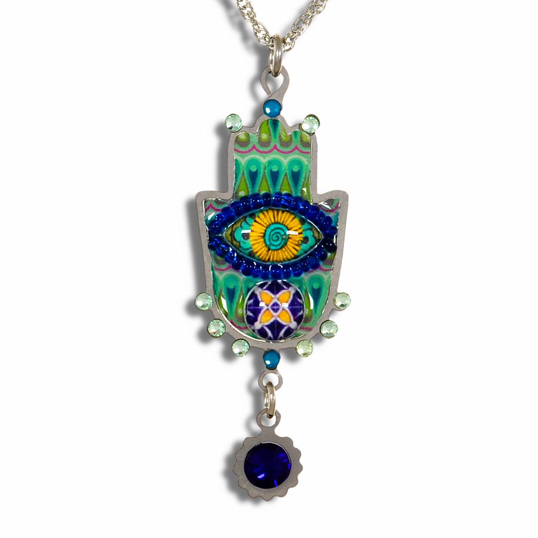 Floral Hamsa  Necklace