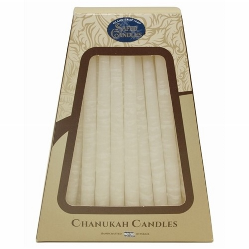 Deluxe Handcrafted Hanukkah Candles - White