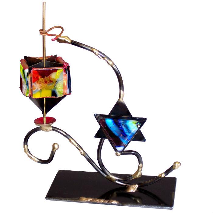 Star of David and Dreidel Display