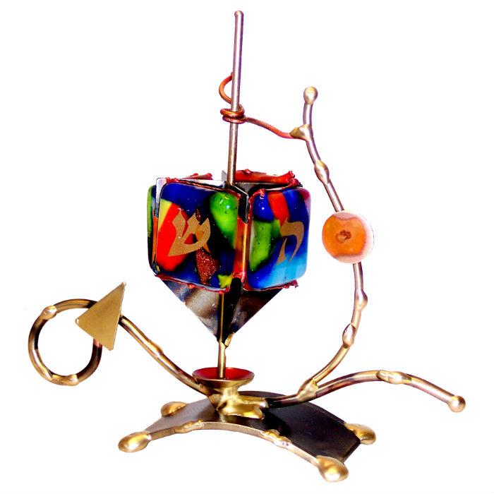 Multi-Colored Displayed Dreidel