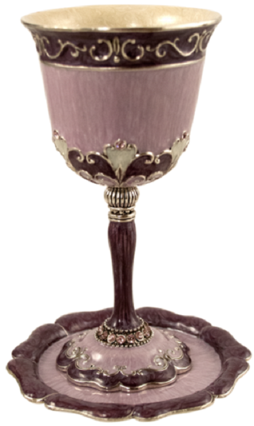 Amital Lavender Kiddush Cup & Plate by Quest