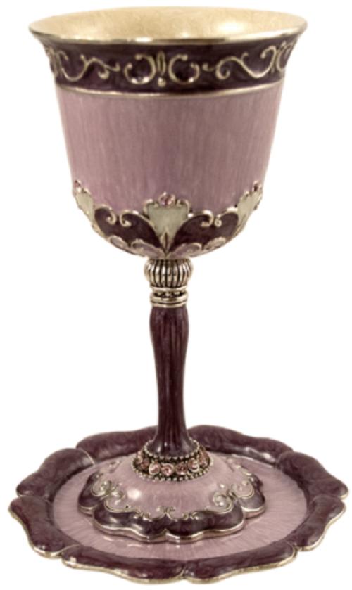 Amital Lavender Kiddush Cup & Plate