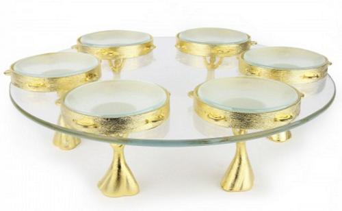 Gold Tambourine Seder Plate