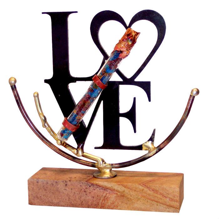 Love Wedding Glass Keepsake Sculpture