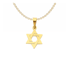 Solid 14k Yellow Gold Star of David Pendant 21mm x 13mm