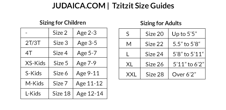 Tzitzit Size Guide